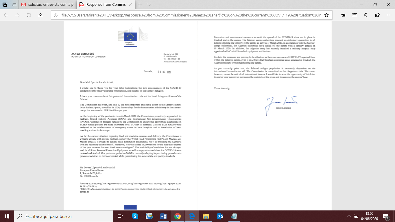 Commissioner for Crisis Management responds to EFA letter on COVID-19 situation in Western Sahara
